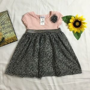 2T pink and gray little girl dress
